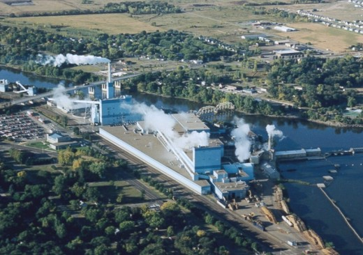 The Verso Paper Mill seen in a 1990s photo.