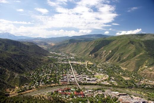 Aerial view of Glenwood Springs, Colorado.