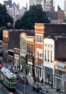 A fixed rail trolley system and adaptive re-use of the historic Central Train Station were public investments that have been a catalyst for the redevelopment of this South Main Arts District in Memphis.