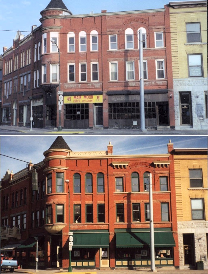 Also in Hamilton, New York, the Nicols-Beal building. In addition to cleaning the brick masonry façade, paint was cleverly used to call attention to the turret cornice and minimize modern window elements in the storefront and upper floors; a new awning was also used to call attention to the storefront and conceal the modern, non-historic aluminum windows in the storefront.