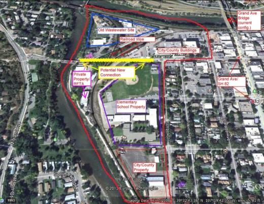 Aerial map of part of Glenwood Springs.