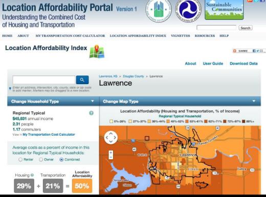 Screenshot of Location Affordability Portal -- displaying Lawrence, Kansas.