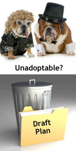 Illustration of an unadoptable pair of dogs and an unadoptable plan