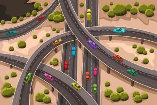 cartoon drawing of a highway interchange