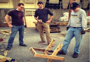 Repurposing pallets to construct public seating in Memphis, Tennessee.