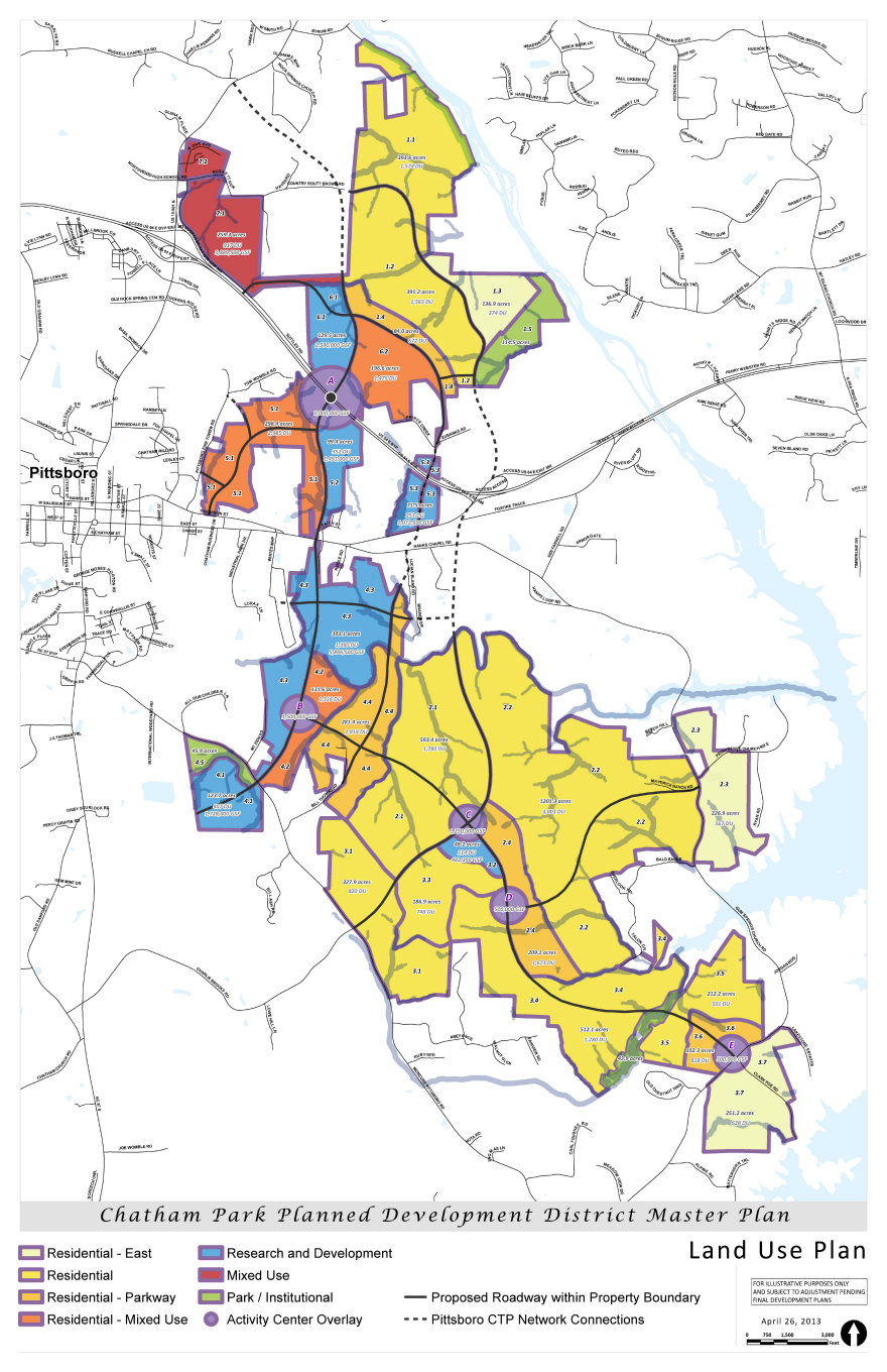 Proposed land use map for Chatham Park.