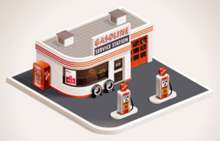 illustration of an old-style gas station