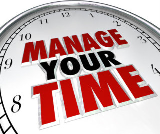 """illustration of clock face with words """"Manage Your Time"""""""