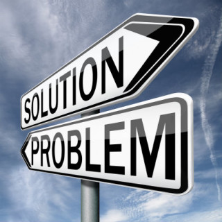 """Two arrows with the words """"solution"""" and """"problem"""""""
