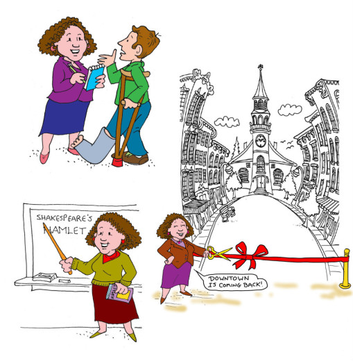 Della Rucker as mom, teacher, and consultant. Illustrations by Marc Hughes for PlannersWeb