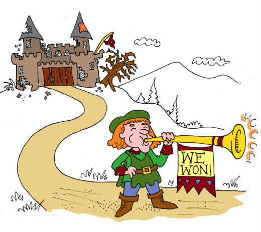 """Trumpeter saying """"We Won"""" in front of wrecked castle. Illustration by Marc Hughes for PlannersWeb"""