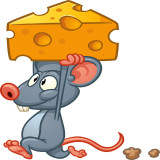 mouse walking away with piece of cheese