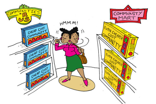 Illustration by Marc Hughes for PlannersWeb - communities r us shopping store