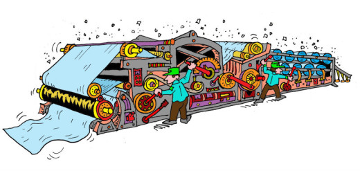 Illustration by Marc Hughes for PlannersWeb - paper press machine