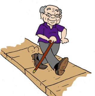 Illustration by Marc Hughes for PlannersWeb - senior citizen walking on sidewalk