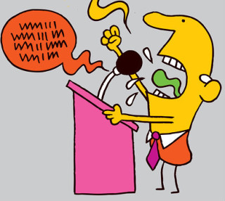 cartoon illustration of an angry politician yelling