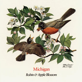State flower of Michigan; From The Wildflowers of the 50 States U.S. stamps issued July 24, 1992