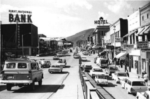 Photo from Grand Avenue Bridge looking south towards downtown Glenwood Springs. Circa 1960s.