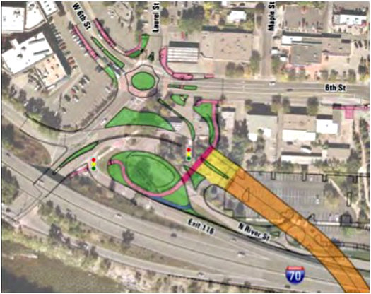Design of new Interstate 70 entrance and exit.