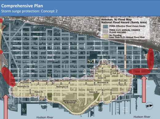 Storm surge protection concepts mapped out. From Hoboken Resilience Plan.