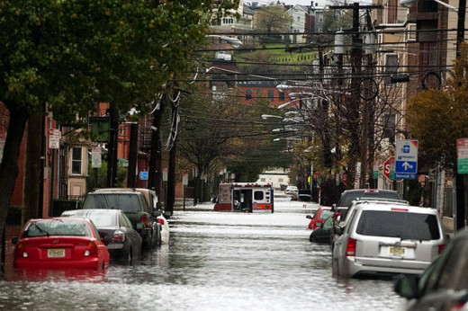 Much of Hoboken was flooded from storm surges caused by Hurricane Sandy.