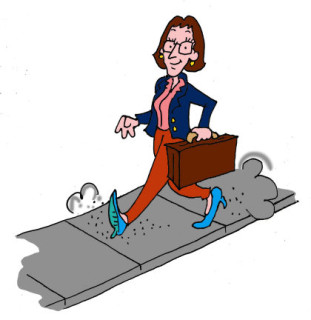 Woman walking. Illustration by Marc Hughes for PlannersWeb