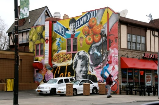 This striking mural greets visitors to Buffalo's Elmwood Village. All photos by Ed McMahon.