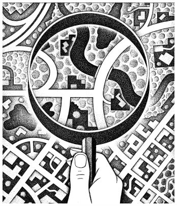 Magnifying glass illustration by Paul Hoffman for PlannersWeb.