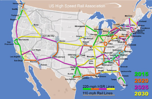The U.S. High Speed Rail Association proposed a National Rail System to be built in four phases starting with the largest cities in the busiest corridors -- the megaregions --- then growing to connect those together across the country.