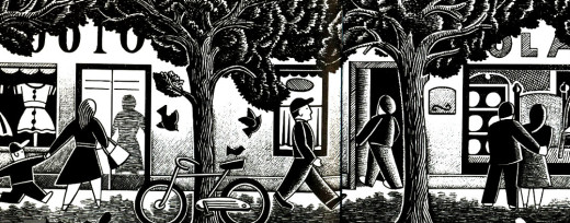 Street scene with trees. Illustration by Paul Hoffman for PlannersWeb.
