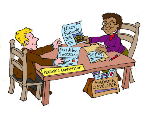 Illustration by Marc Hughes for PlannersWeb - expedited permit processing.