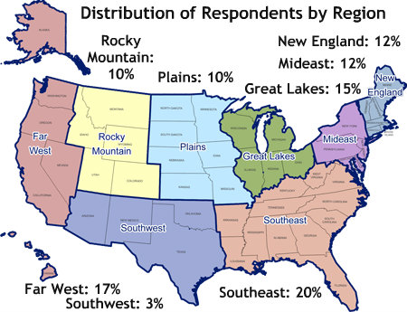 Map of survey respondents by region.