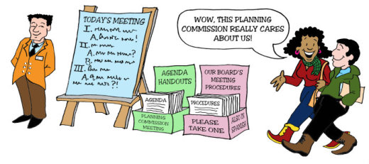 Illustration by Marc Hughes for PlannersWeb - have agenda and handouts available before the meeting.