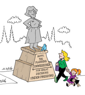 Illustration by Marc Hughes for PlannersWeb - honoring a planning commissioners service to the community.