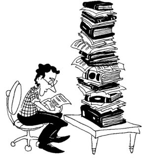 Illustration by Marc Hughes for PlannersWeb - planning staff doing homework.