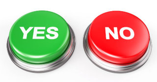 graphic of yes and no buttons.