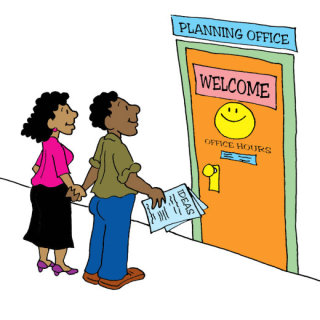 Illustration by Marc Hughes for PlannersWeb - welcoming door to planning department office.